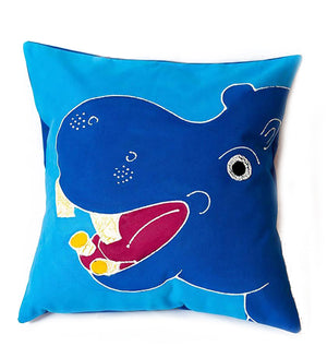 Hand Painted Safari Fun Hippo Pillow