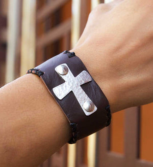 Brown Leather Mission Bracelet - Jewelry Handmade in Africa - Swahili Modern - 1
