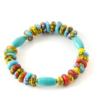 Chunky Batik and Turquoise Powder Glass Bead Bracelet