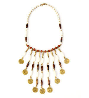 Caramel Mocha Brass Swirl Statement Necklace