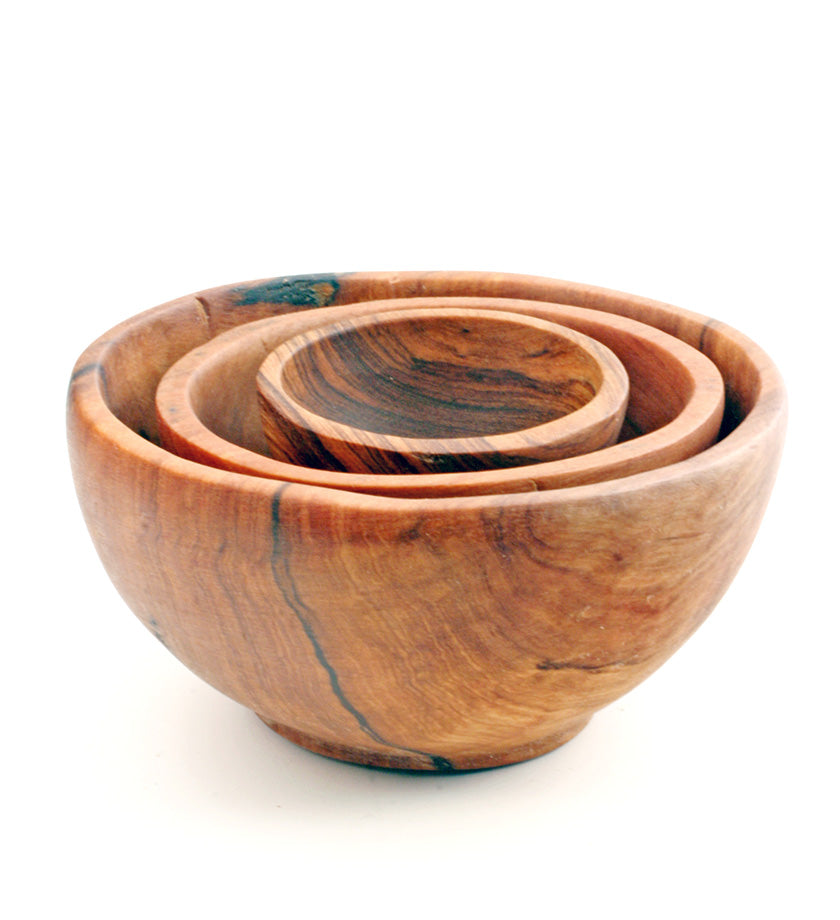 Chef's Olive Wood Condiment Bowl Trio