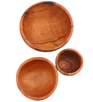 Chef's Olive Wood Bowl Trio - Kitchen Handmade in Africa - Swahili Modern - 3