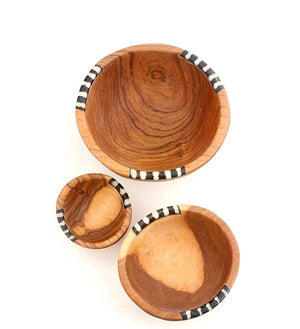Set/3 Small Olive Wood & Bone Condiment Bowls