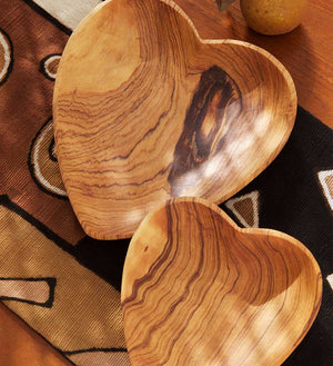 Set of Hand-Carved Heart Serving Dishes - Kitchen Handmade in Africa - Swahili Modern - 1