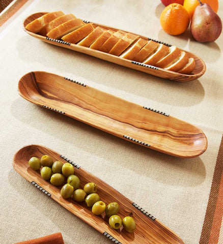 Three African Olive Wood Bowls with Bone Inlay - Kitchen Handmade in Africa - Swahili Modern - 1