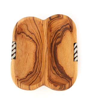 Side-by-Side Olive Wood & Bone Dipping Sauce Bowl