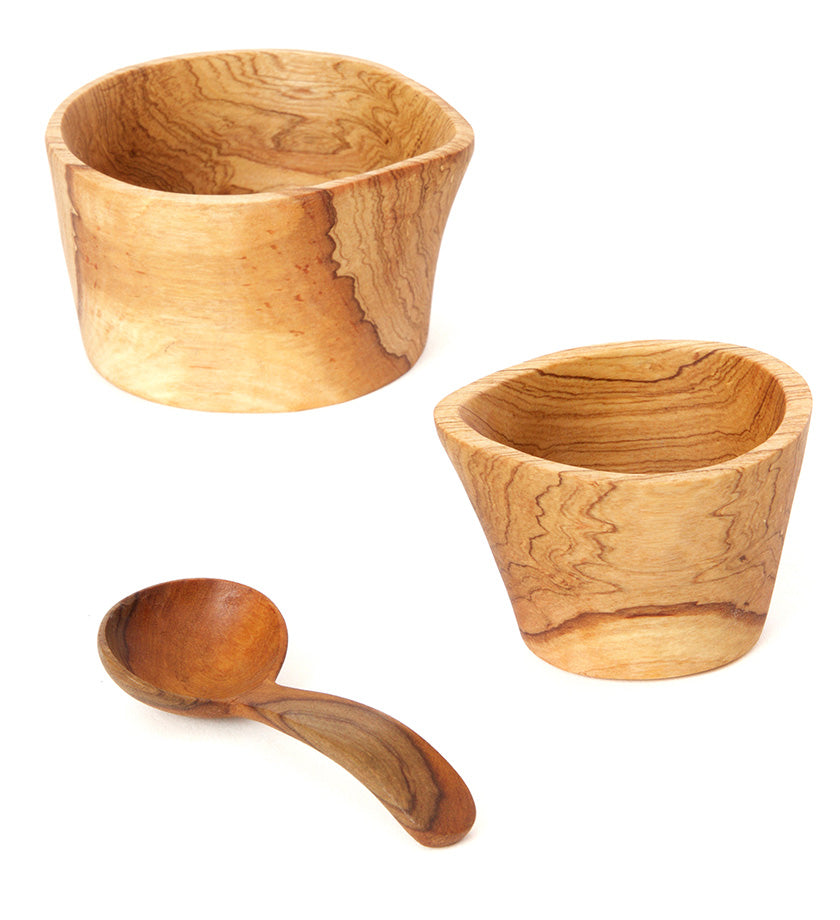 Kenyan Olive Wood Rustic Cream & Sugar Set