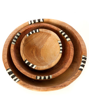 Set/3 Hand-Carved Bowls with Dyed Bone Inlay