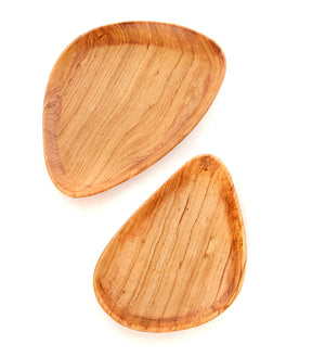 Set/2 Olive Wood Flower Petal Serving Trays