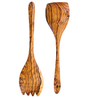 Richly Grained Olive Wood Salad Scoops