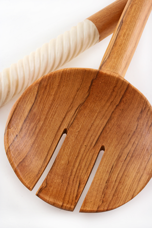 Spiraled White Bone Salad Servers - Kitchen Handmade in Africa - Swahili Modern - 3