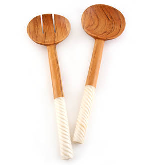 Spiraled White Bone Salad Servers - Kitchen Handmade in Africa - Swahili Modern - 2