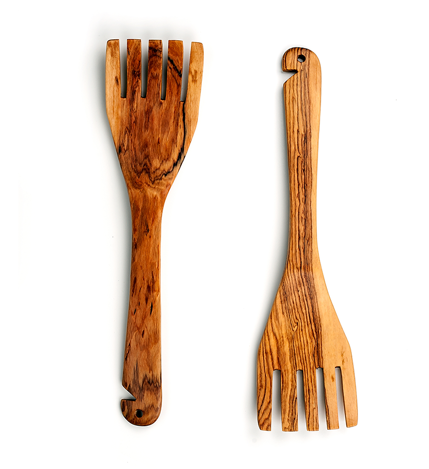 African Olive Wood Salad Forks - Kitchen Handmade in Africa - Swahili Modern - 1