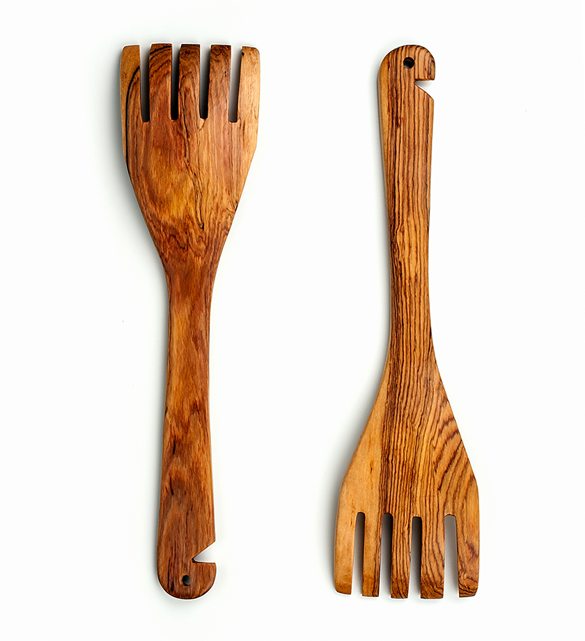 African Olive Wood Salad Forks - Kitchen Handmade in Africa - Swahili Modern - 2