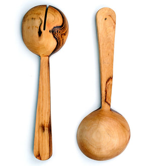 Kenyan Olive Wood and Bone Pendulum Salad Servers