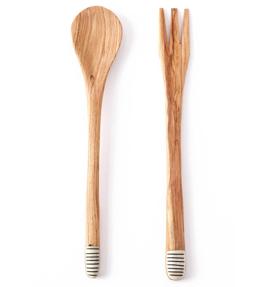 Slender Spoon & Fork Servers with Various Etched Bone Handle Tips