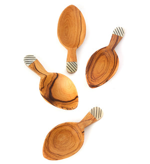 Set/4 Olive Wood Leaf Scoops with Striped Bone Handle Tips