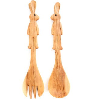 Wild Olive Wood Bunny Rabbit Salad Servers