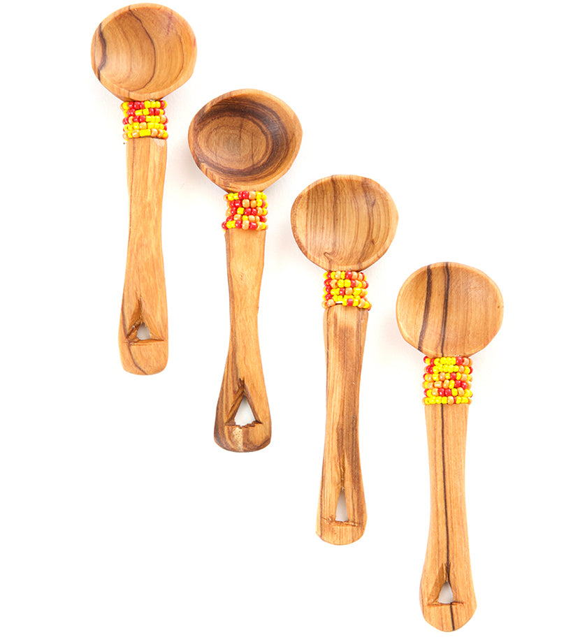 Set/4 Olive Wood Spoons with Sunshine Beads