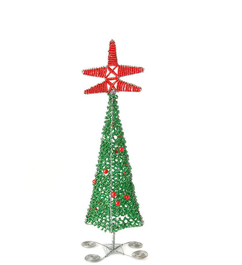 Cute Christmas tree sculpture with red decorations and star, made form sparkling beads and silver wire. Handmade in Africa.