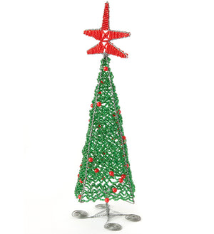 Beaded Wire Christmas Tree Sculptures