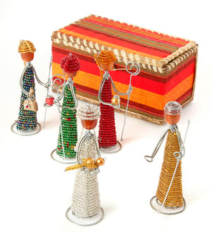 Beaded Nativity Set in Fabric and Banana Fiber Box