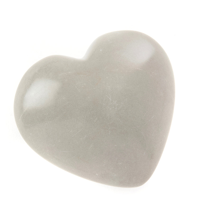 Set of 4 Natural Gray Soapstone Hearts