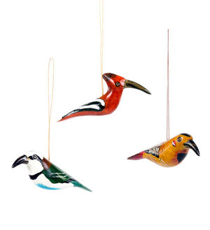 Set of three Hand-Painted Bird Ornaments - Holiday Decor.  Handmade in Kenya, Africa