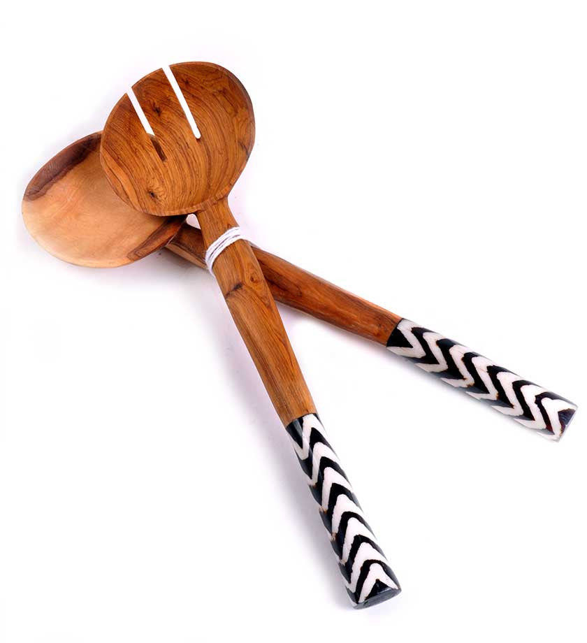 African Servers with Zig Zag Bone Handles - Kitchen Handmade in Africa - Swahili Modern - 1