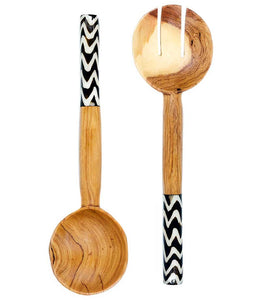 African Servers with Zig Zag Bone Handles - Kitchen Handmade in Africa - Swahili Modern - 2