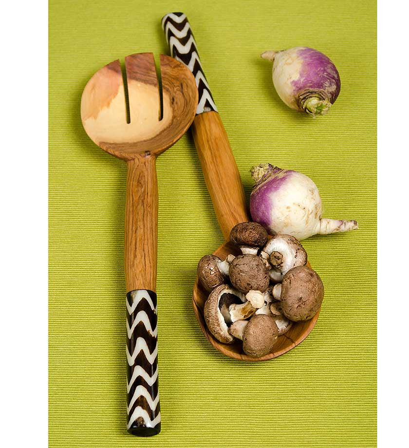African Servers with Zig Zag Bone Handles - Kitchen Handmade in Africa - Swahili Modern - 4