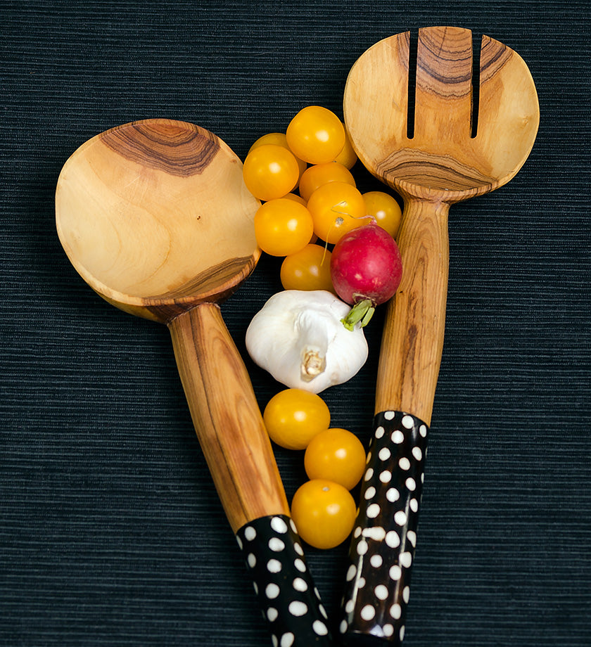 African Wood Salad Servers with Dotted Batik Handles