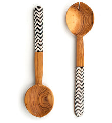 African Wood Salad Servers with Zigzag Batik Accents