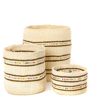 Set/3 Petite Vanilla Sisal Baskets with Colorful Beads