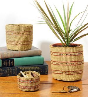 Set/3 Petite Caramel Sisal Baskets with Colorful Beads