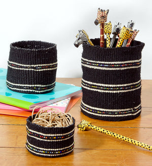 Set/3 Petite Licorice Sisal Baskets with Colorful Beads