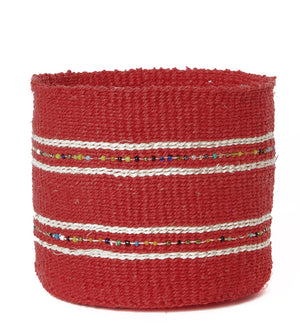 Set/3 Petite Cherry Sisal Baskets with Colorful Beads