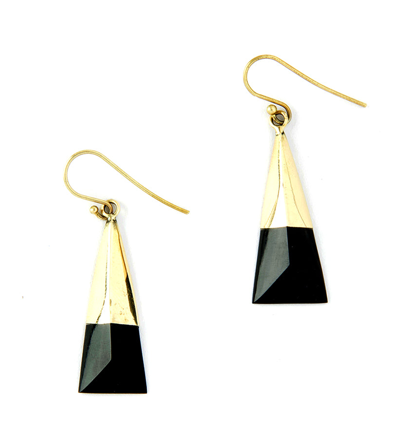 Short Kenyan Brass and Cow Horn Prism Earrings