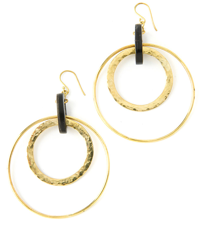 Brass & Horn Lariat Earrings