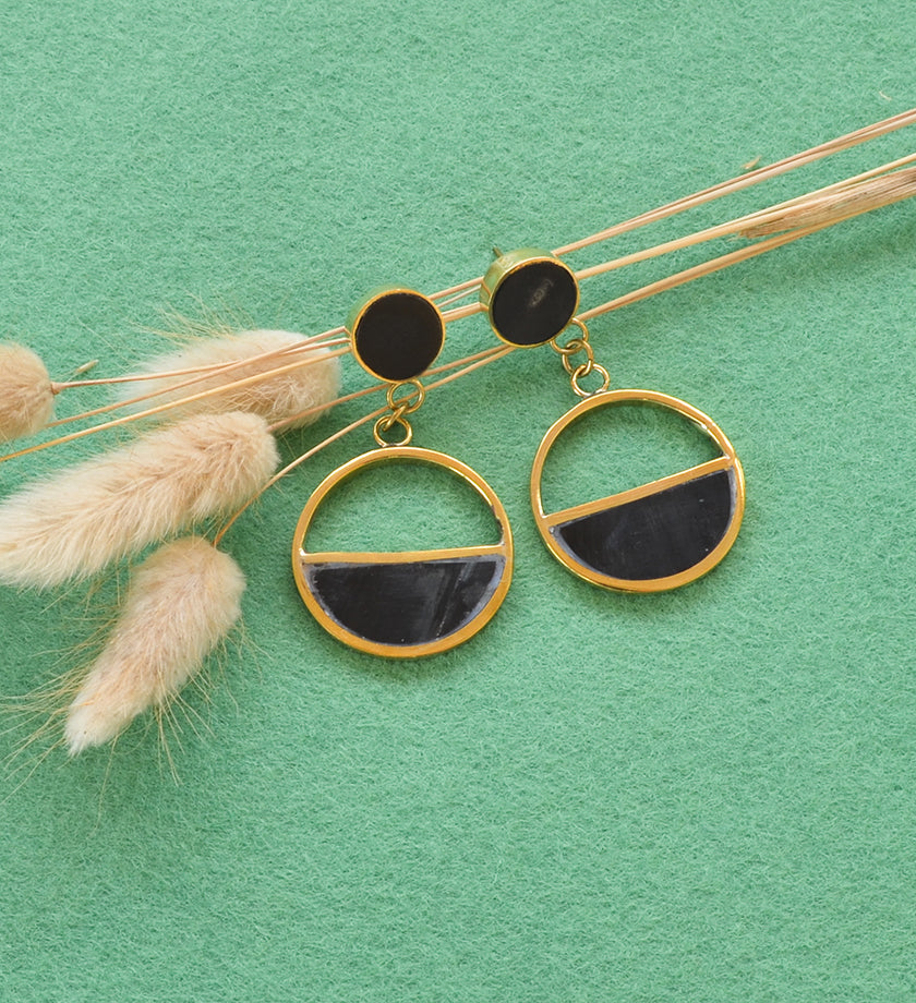 Black Horn and Brass Optimist Earrings