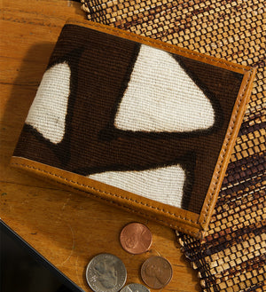 Malian Mudcloth and Leather Small Wallet