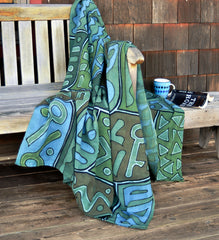 Coastal Colors <br>Malian Mudcloth Throw Blanket
