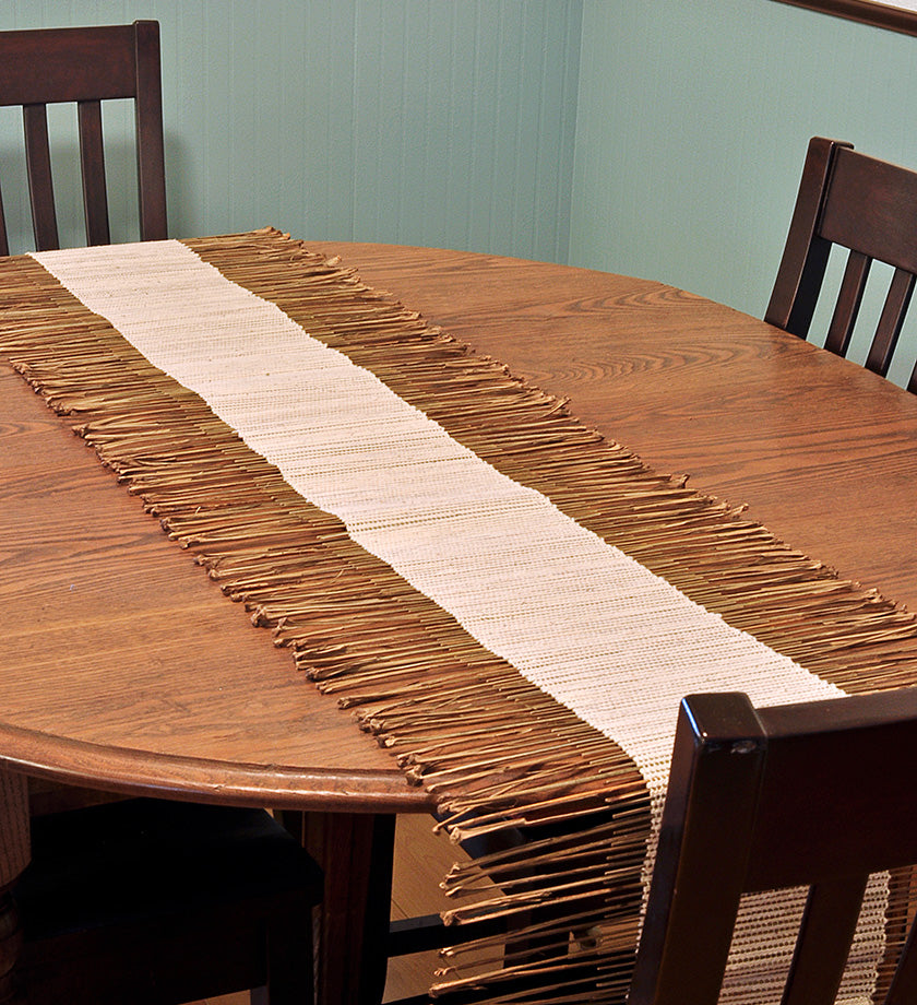 Creamy White African Twig & Mudcloth Table Runners