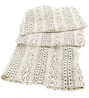 White Mudcloth Throw Blanket - Home Decor Handmade in Africa - Swahili Modern - 1