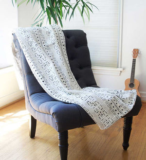 White Handmade Mudcloth Blanket from Mali