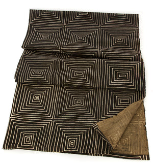 Black Ségou Squares Organic Cotton Throw