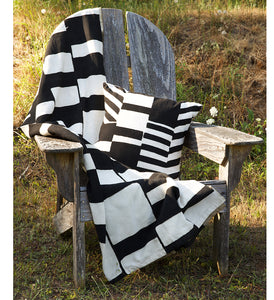 Black & White Geometric Blocks Throw Pillow - Assorted Patterns