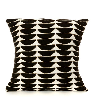 Black and White Dunes Organic Cotton Throw Pillow