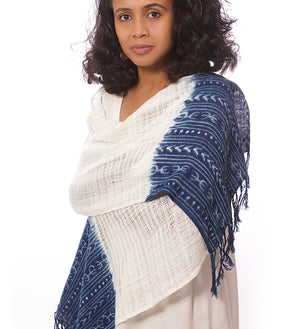 Indigo Organic Cotton Open Weave Scarf