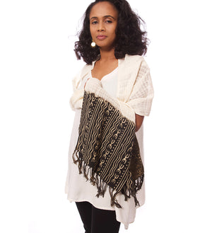 Black Organic Cotton Open Weave Scarf